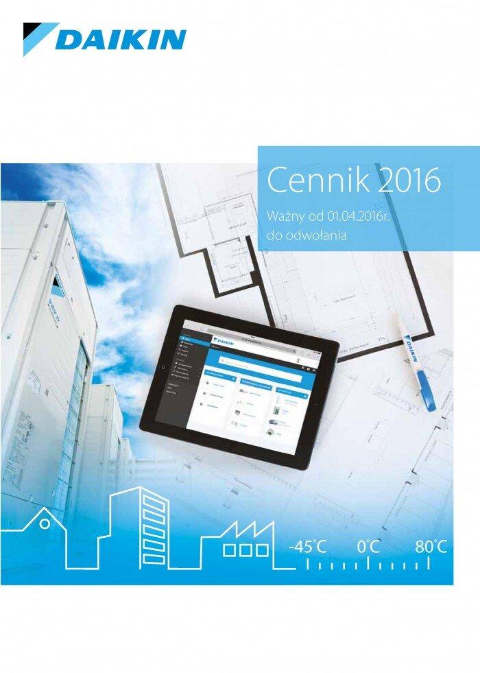 cennik klimatyzatorów Daikin 2016 - 1 strona