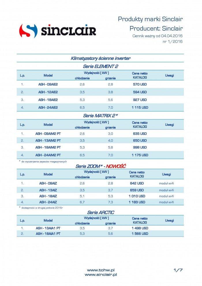 cennik klimatyzatorów Sinclair 2016 - 1 strona