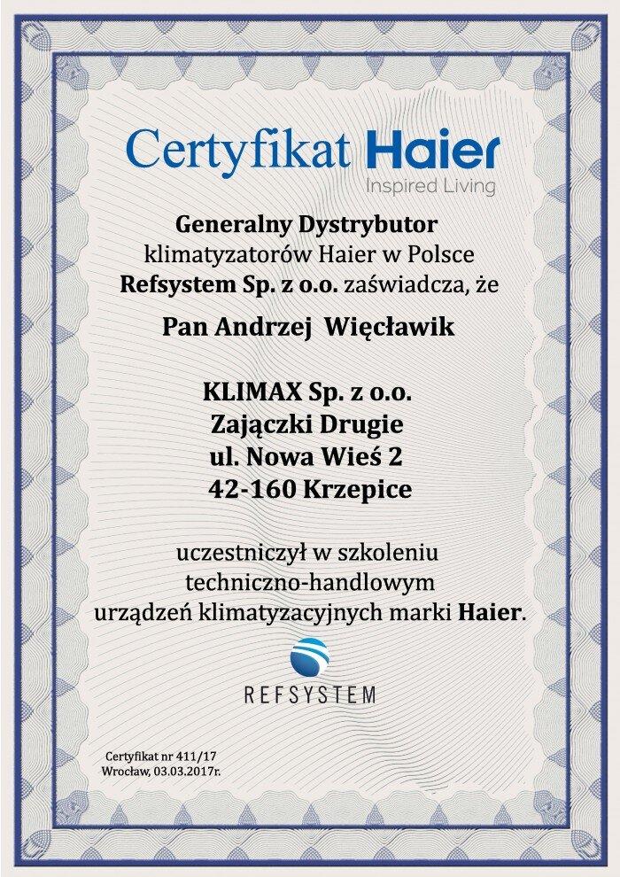 1. certyfikat HAIER - 2017_2018