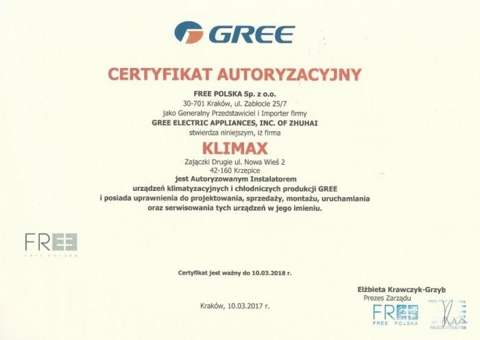 2. certyfikat GREE - od 10.03.2017 do 10.03.2018